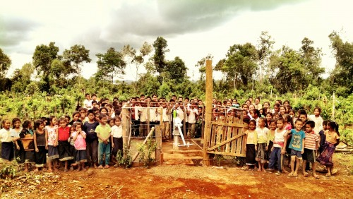 Group picture by a new water pump