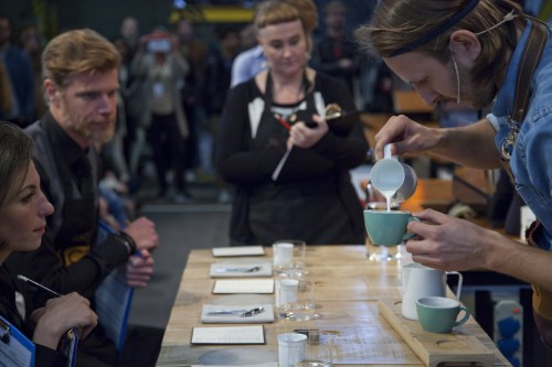 Koen performing in the Dutch Barista Championships
