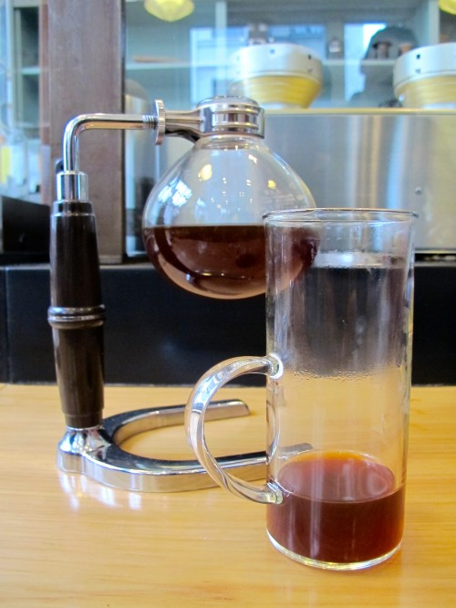 Beautifully prepared Siphon -brewed Ethiopia Suke Quto at Blue Bottle Mint Plaza