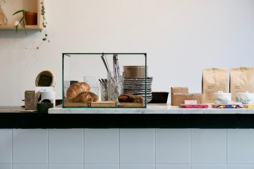 Home baked goodness and coffee on display